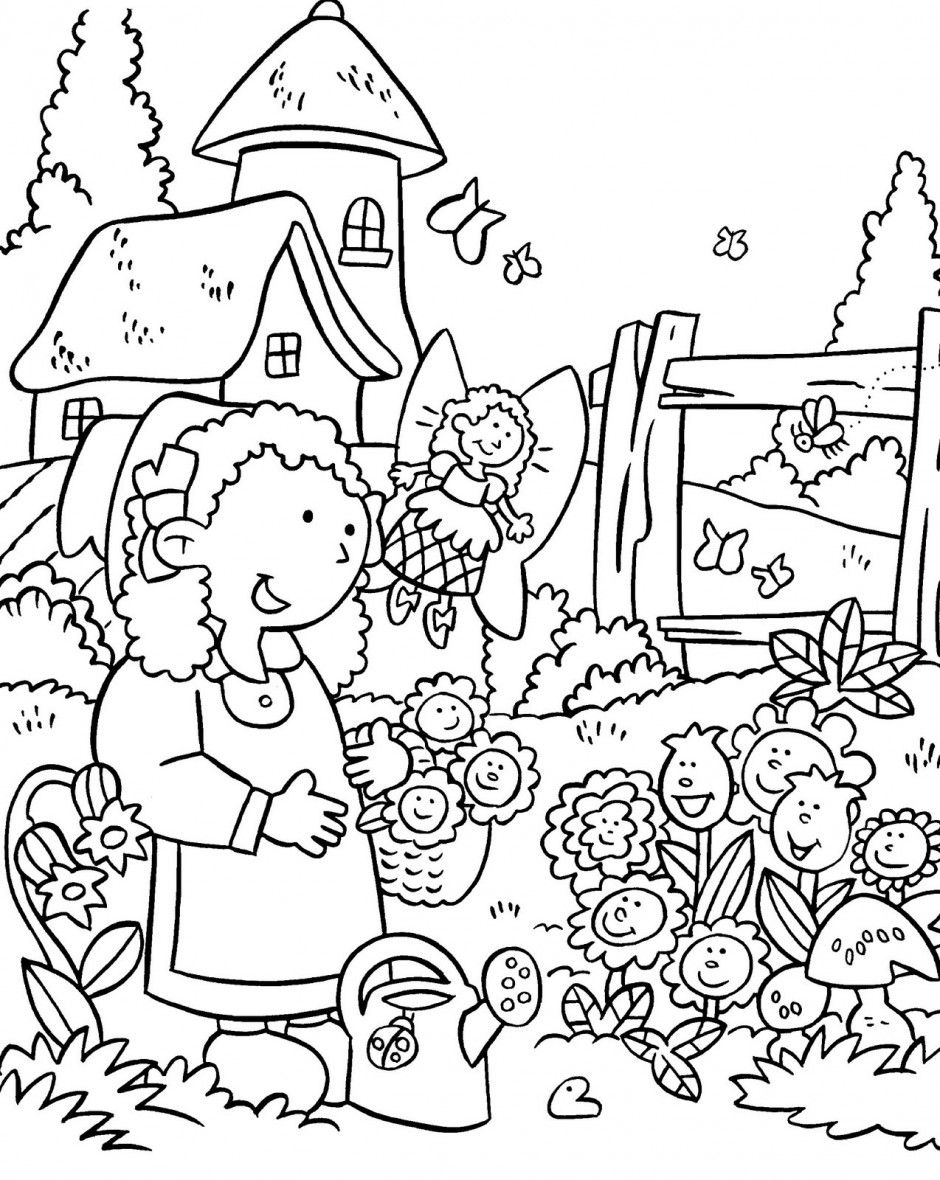 garden clipart black and white.
