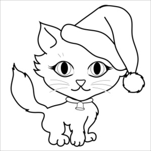 Free Cat Clip Art Image: Coloring Page of a Cute Little Kitten.