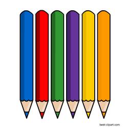 Six color pencils, free clipart image.