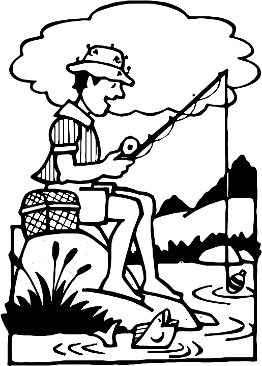 Fishing Colorized Clip Art Download.