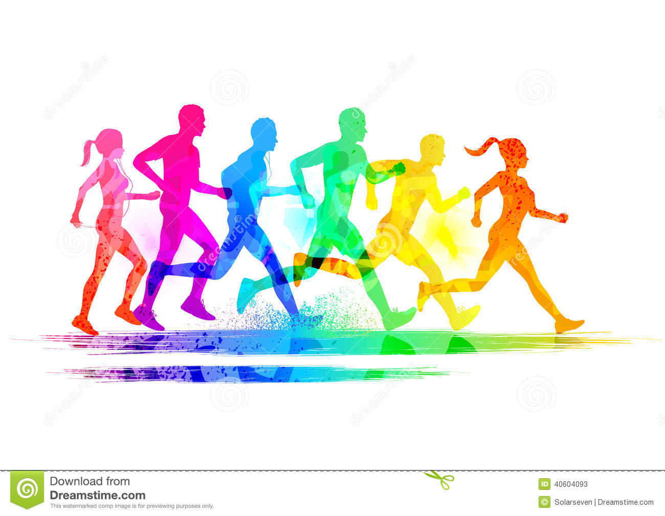 Group Of Runners Stock Vector.