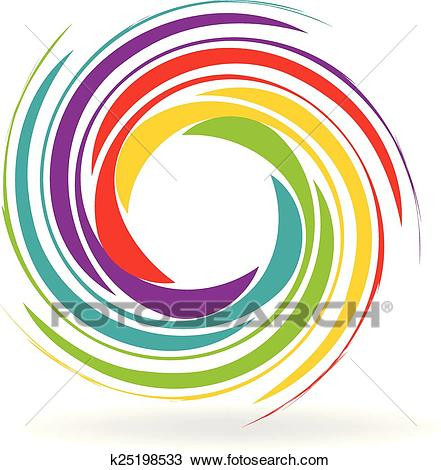 Waves with rainbow colors logo Clipart.