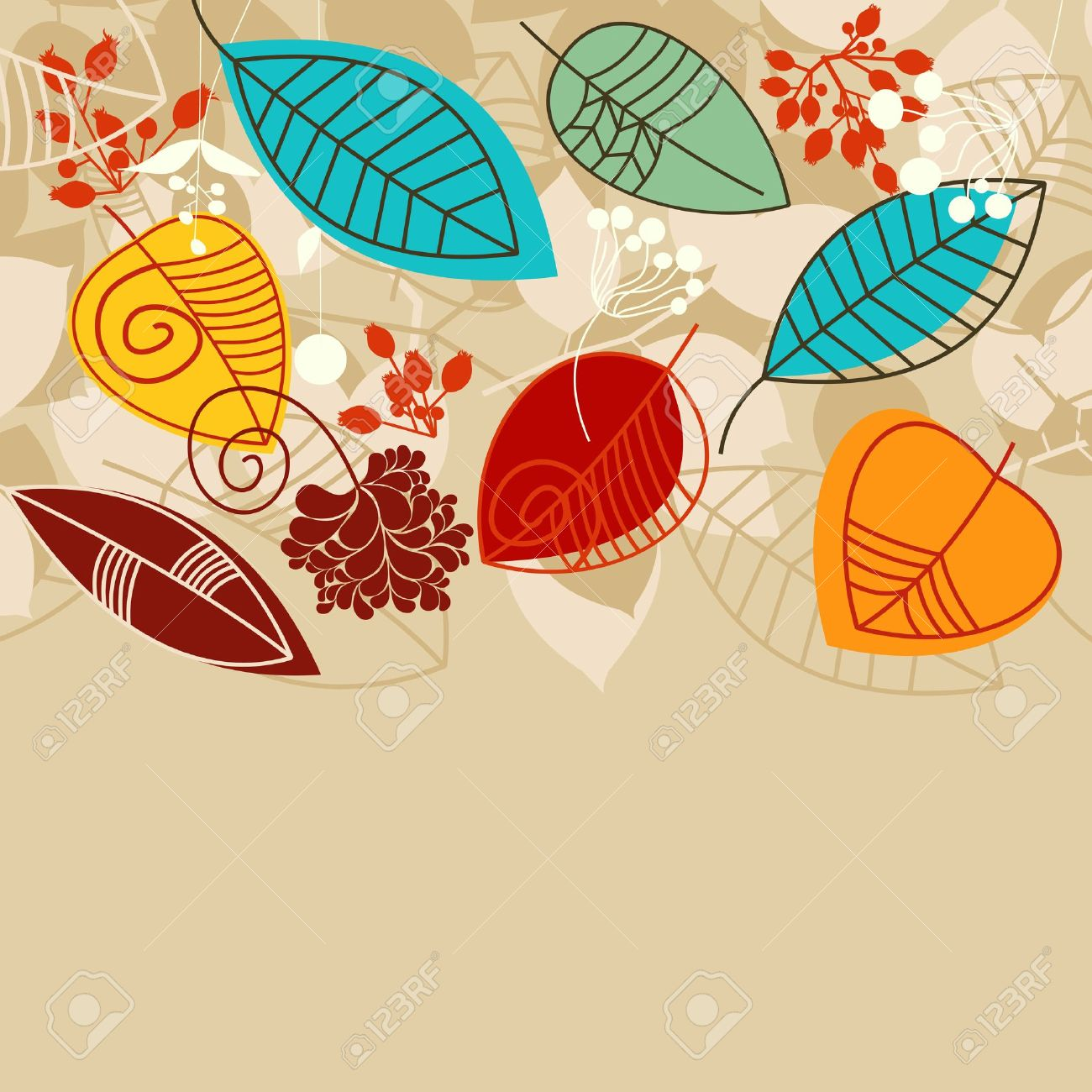 Fall Background With Leaves In Bright Colors Royalty Free Cliparts.