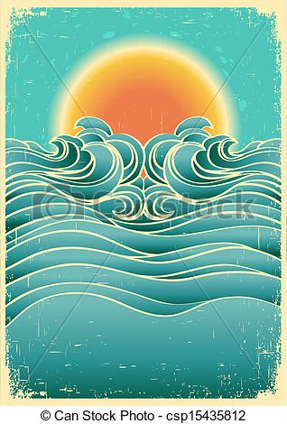 Vector Clip Art of Vintage nature seascape background with.