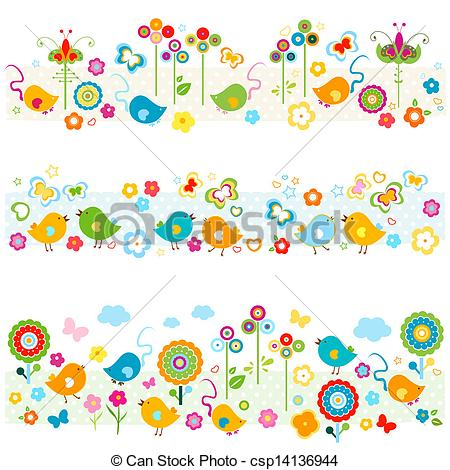 EPS Vector of cute nature borders with colorful elements.