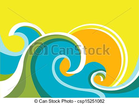 Vector of Nature seascape poster with sea waves and sun.Vector.