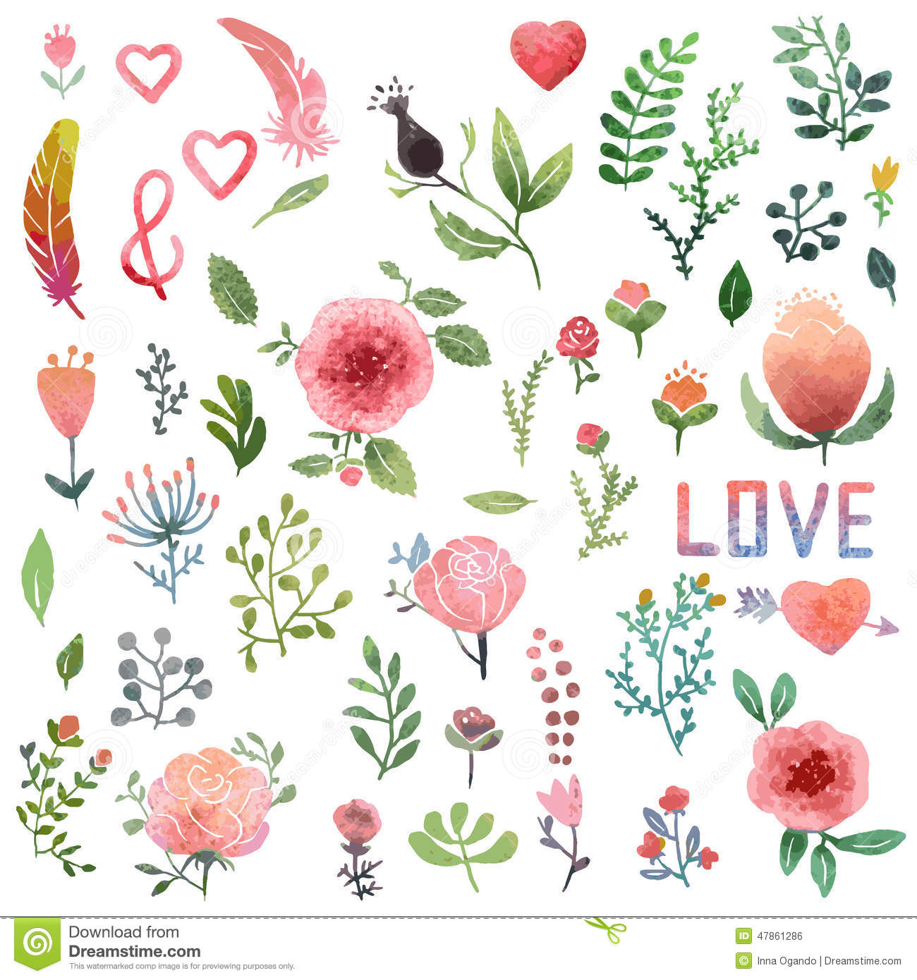 Watercolor Nature Clip Art. Stock Vector.