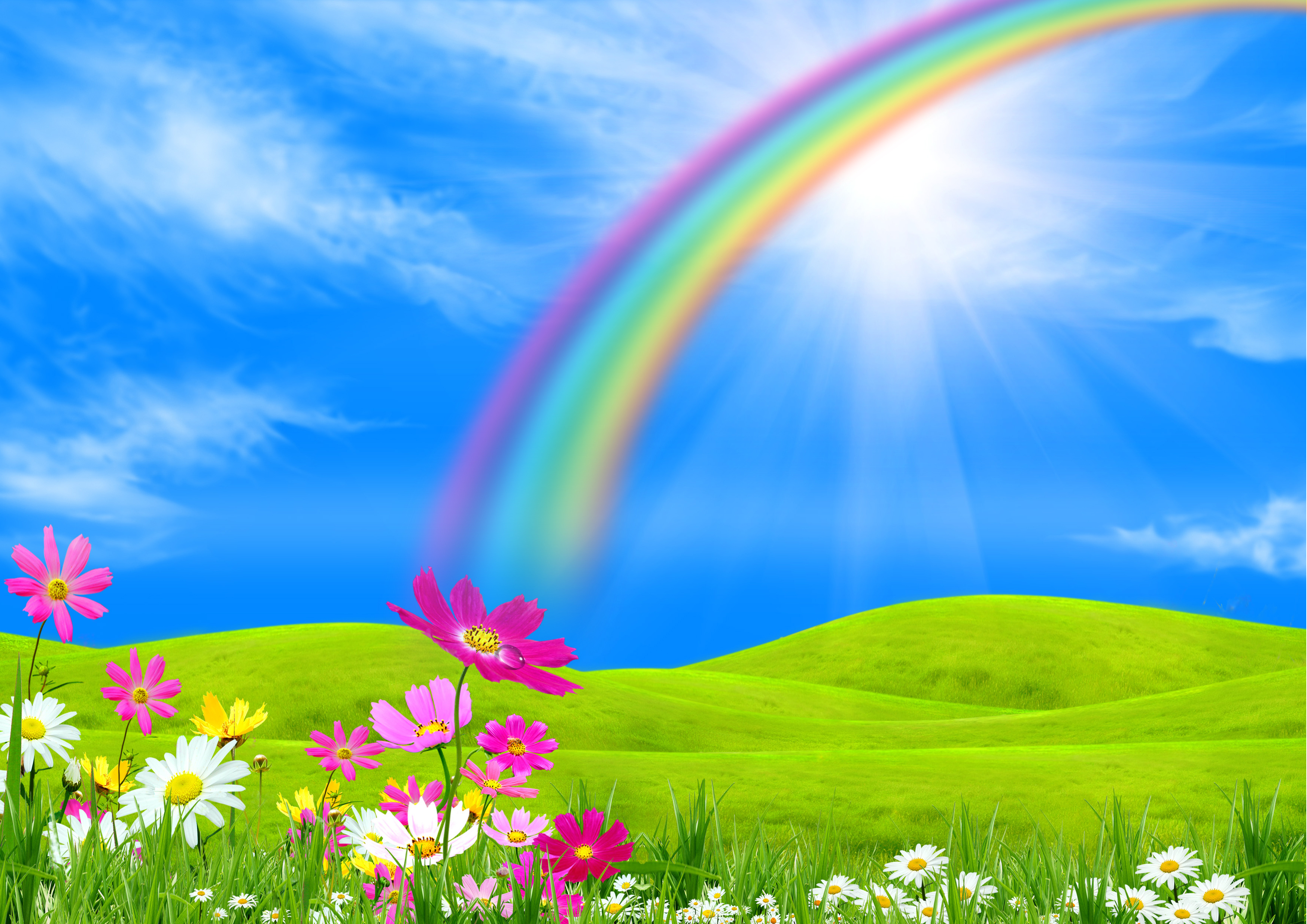 Nature with rainbow clipart wallpaper.