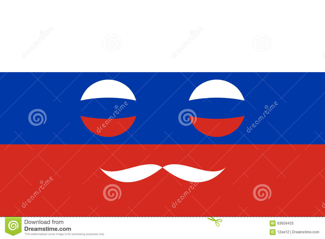 Icon In Colors Of The Russian Flag Stock Vector.