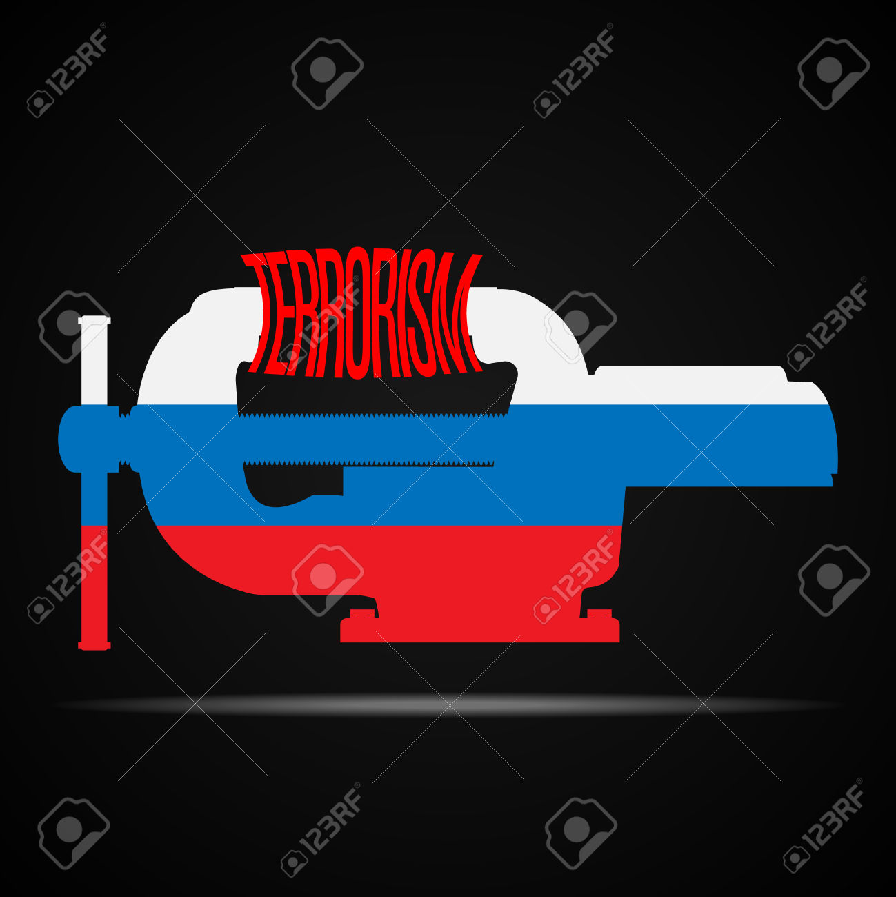 Vices In The Colors Of Russian Flag Crush The Word Terrorism.