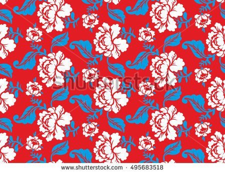 Russian National Flower Pattern Colors Russia Stock Vector.