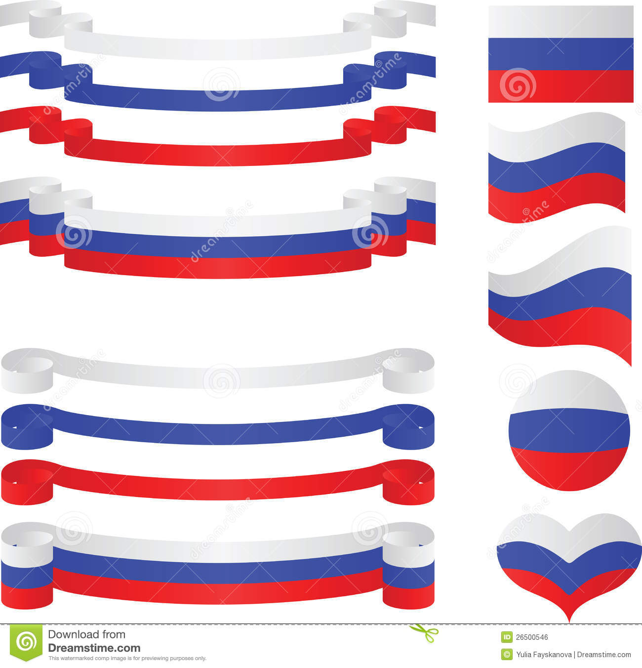 Set Of Russian Ribbons In Flag Colors. Royalty Free Stock Image.