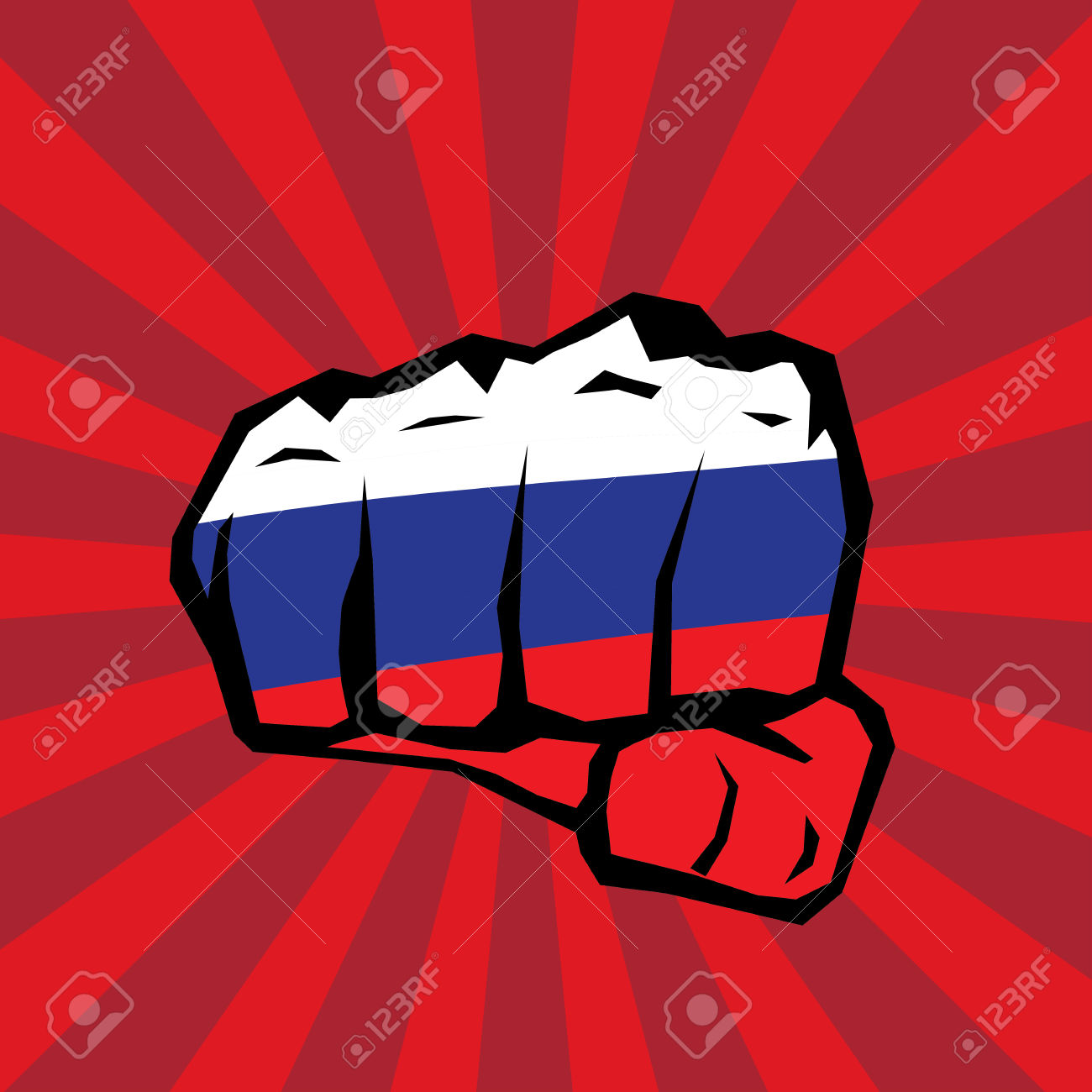 Vector Fist Icon. Fist Colored In Russian Flag Color Royalty Free.