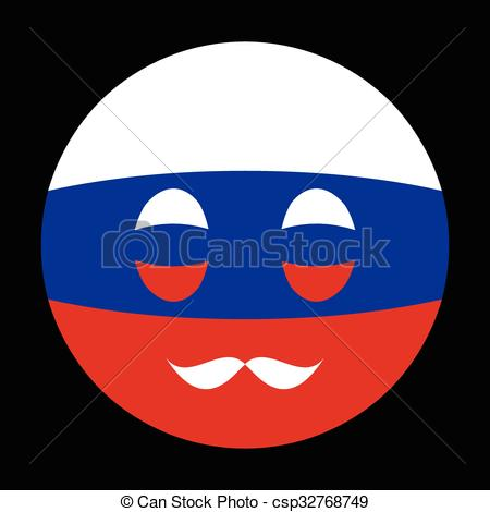 EPS Vector of Icon in colors of Russian flag with mustaches in.