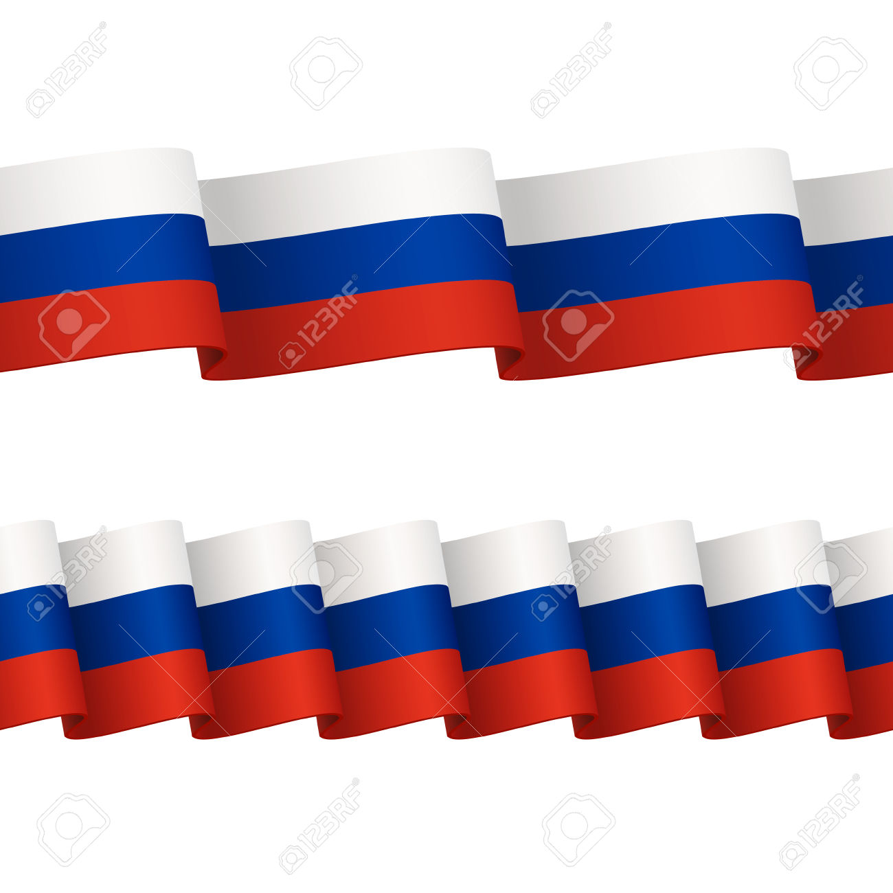 Two Seamless Wavy Surface Ribbons With Colors Of Russian Flag.