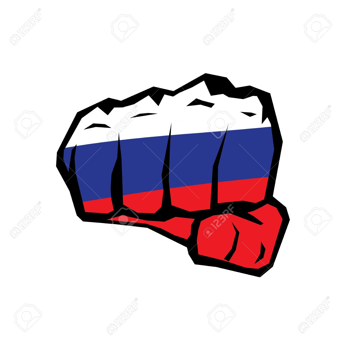 Vector Fist Icon. Fist Colored In Russian Flag Royalty Free.