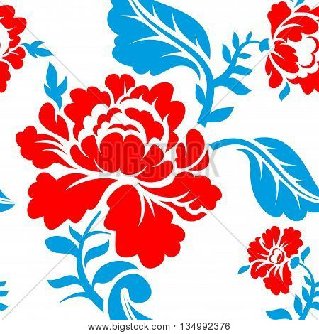 Russian national flower pattern. Colors of Russia flag. Tricolor.