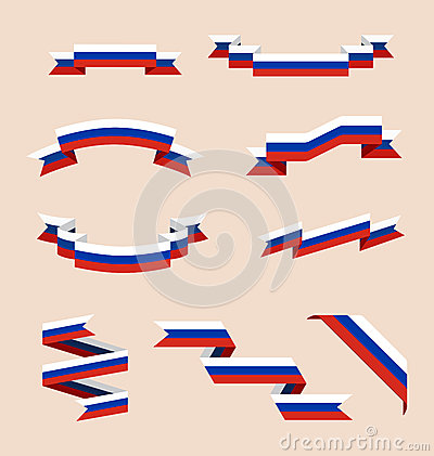 Ribbons Or Banners In Colors Of Russian Flag Stock Illustration.