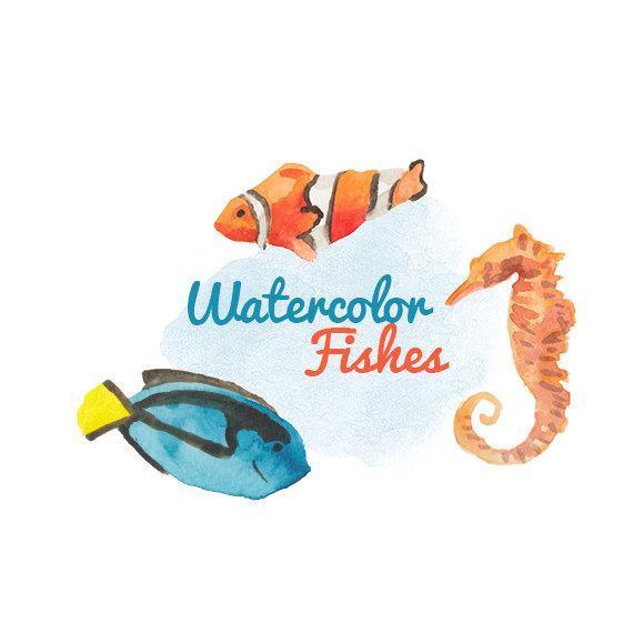 Watercolor Fishes Clip art Clipart by DigitalPressCreations on Zibbet.