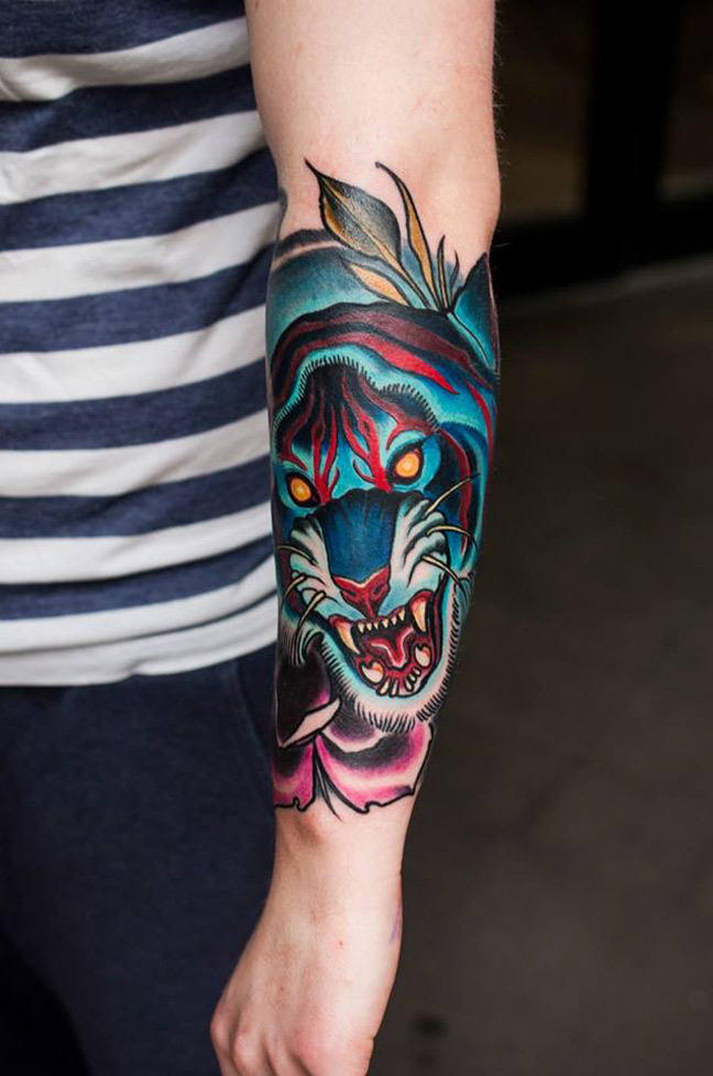 38+ Wonderful Colored Tiger Tattoos & Design With Meanings.