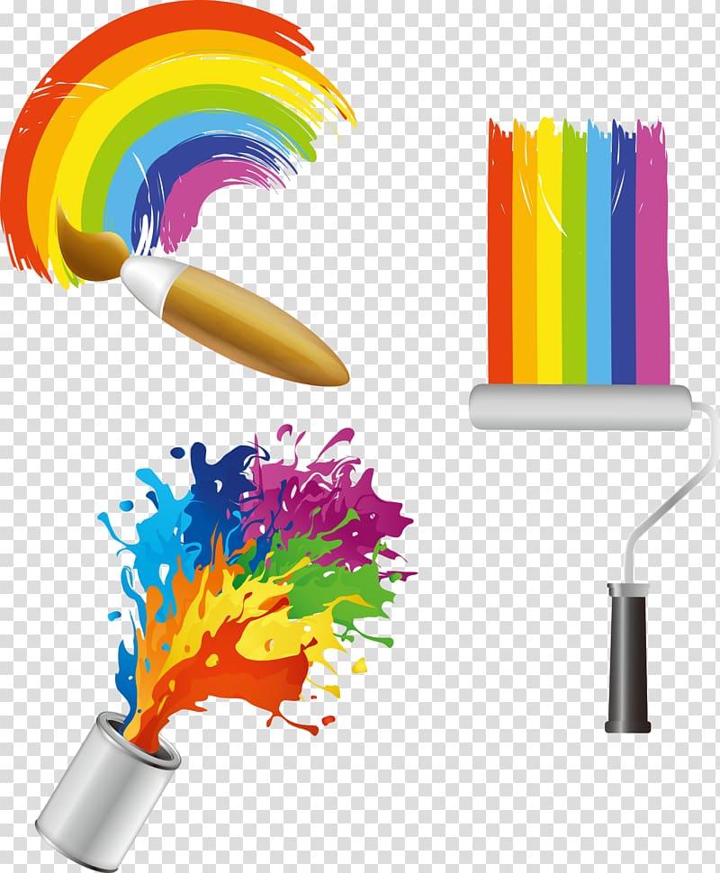 Color palette, Paint Color Bucket , paint brush transparent.