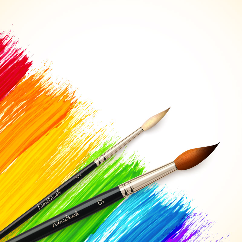 Color Paint Brush Vector.