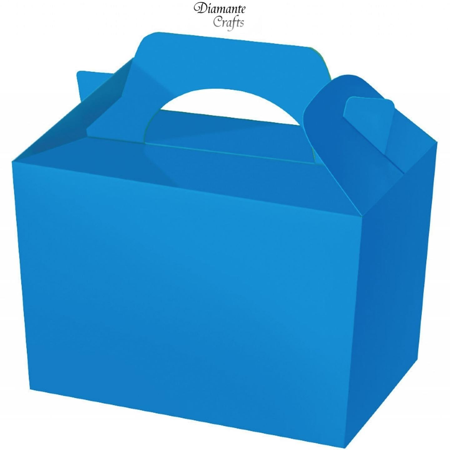 10 Party Boxes Solid Colour Plain Cardboard Lunch Food Loot Treat.