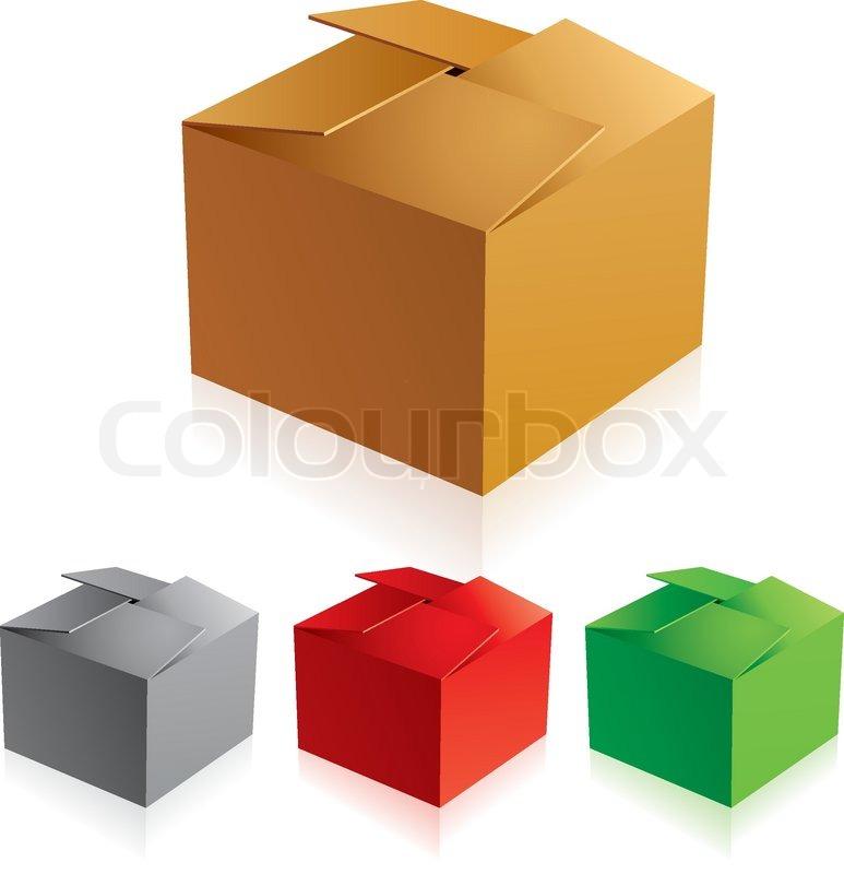 Illustraion of open color cardboard boxes.