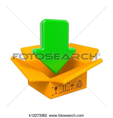 Clip Art of Open Color Cardboard Box and Arrow. For Design.