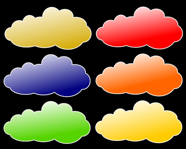 Colour Clouds Clipart, vector clip art online, royalty free design.