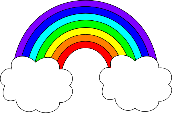 Rainbow with Clouds Clip Art.
