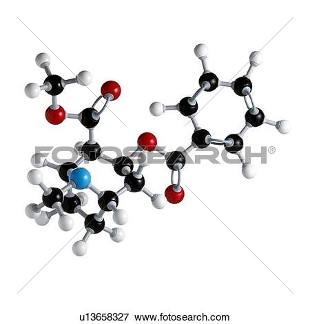 Picture of Cocaine drug molecule. Atoms are represented as spheres.