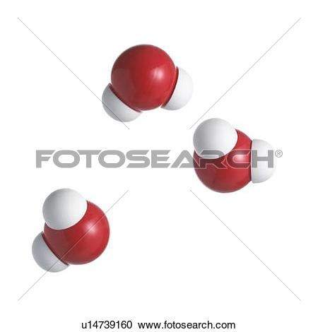 Stock Photography of Water molecules. Atoms are represented as.