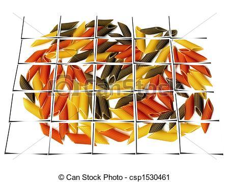 Clipart of three colour penne italian pasta collage.