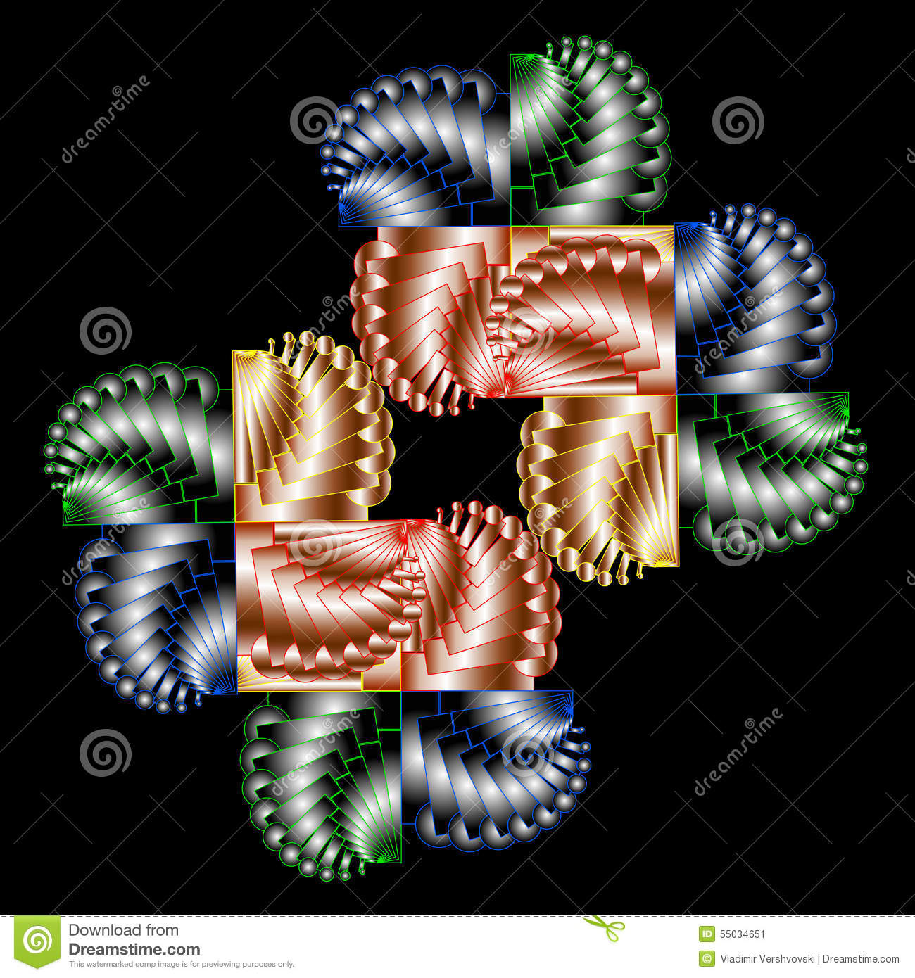 Graphical Composition With Color Spiral Elements On Black Backg.