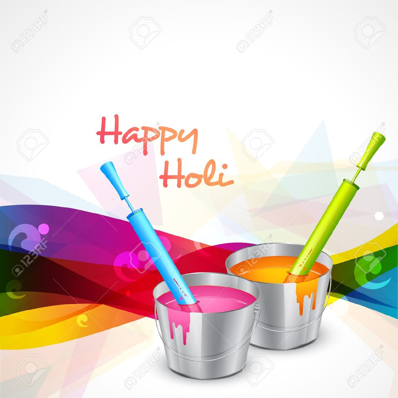 Vector Indian Holi Festival With Water Colors Royalty Free.