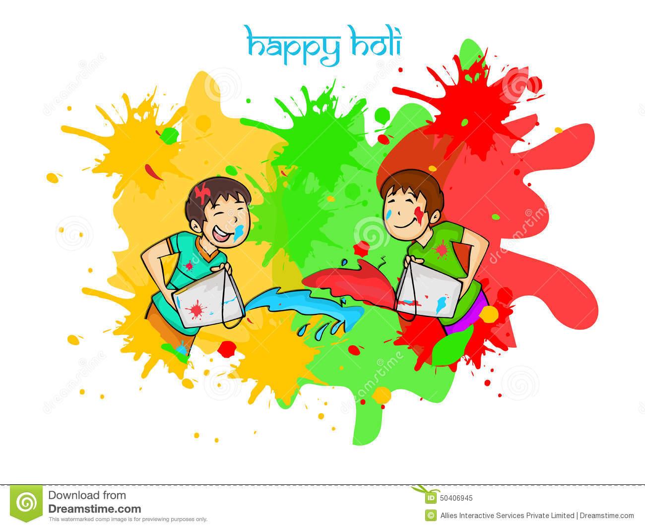 Happy Holi Festival Celebration With Little Kids. Stock.