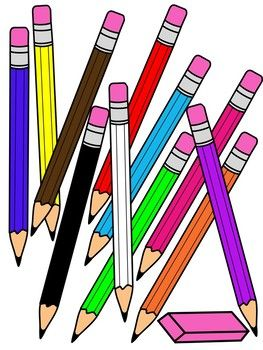 Pencil clipart with eraser * color and black and white.