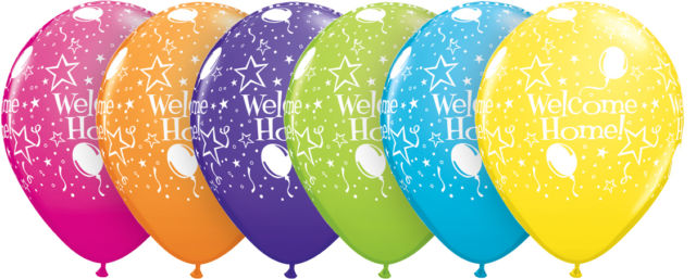 "Qualatex Welcome Home 11"" Bright Colour Party Balloons for Helium."