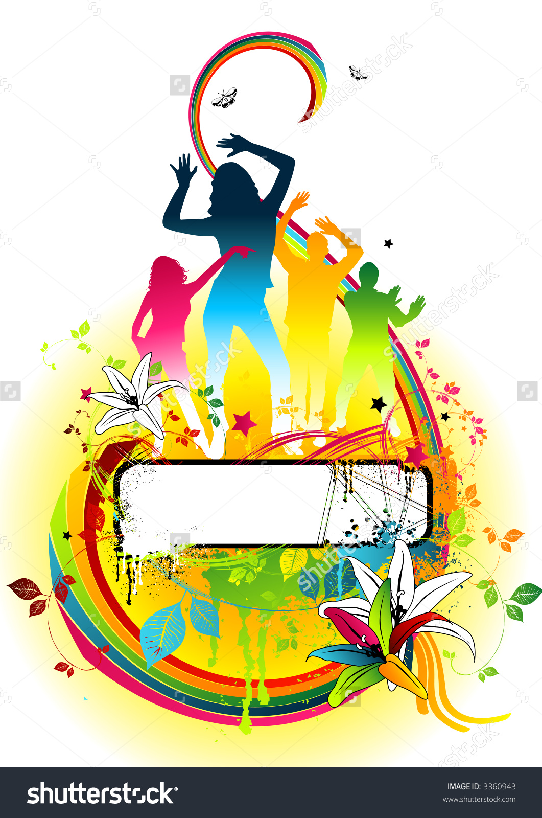 Floral Disco Colour Party Design Piece. Stock Photo 3360943.