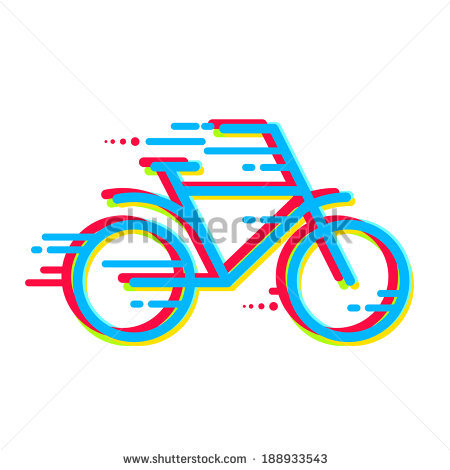 Bicycle Icon Colored With Color Separation. Line Art On A Light.