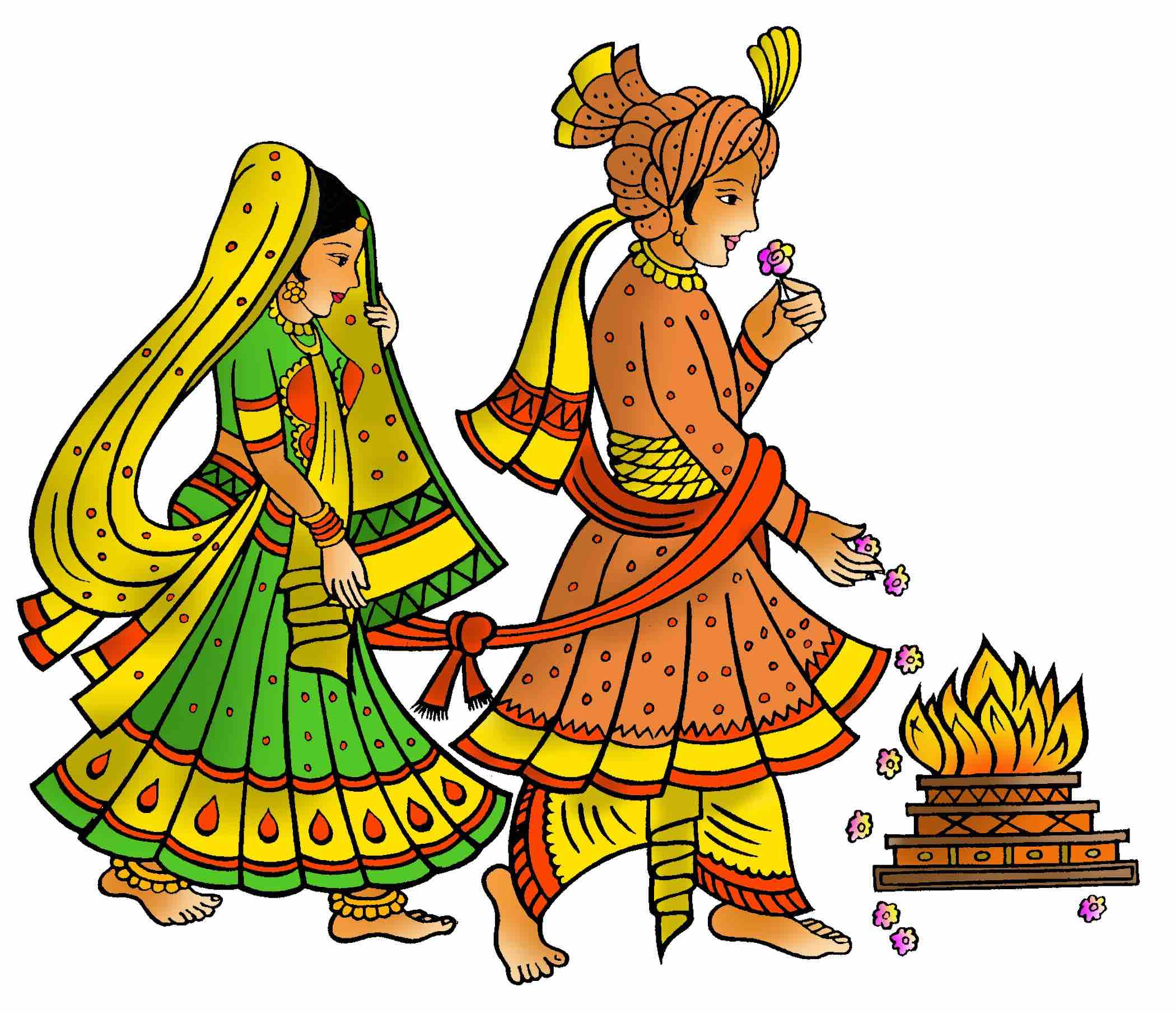 Hindu Marriage Colour Clipart.