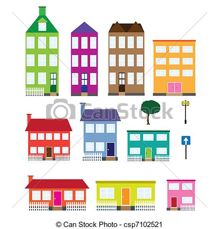 Vector Clip Art of Set of houses..