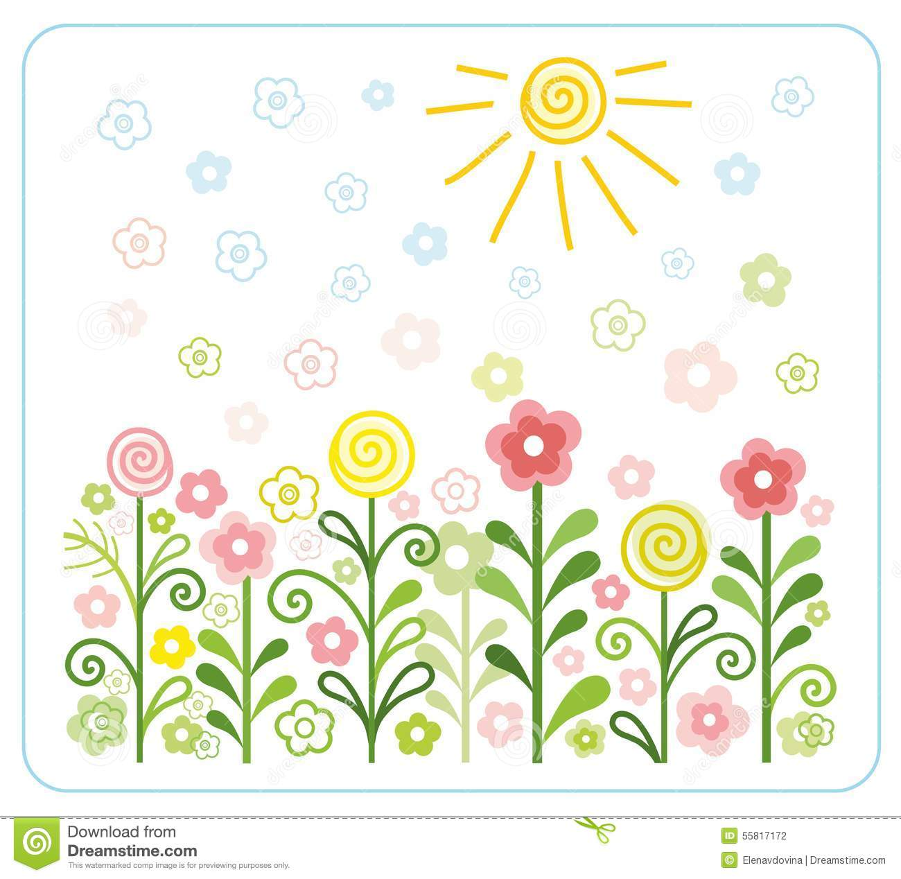 Flowers, Sun, Children, Flat, Coloured Illustrations. Stock Vector.