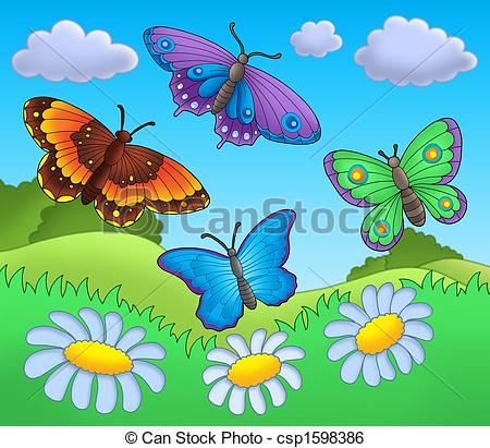 Stock Illustration of Butterflies on meadow.