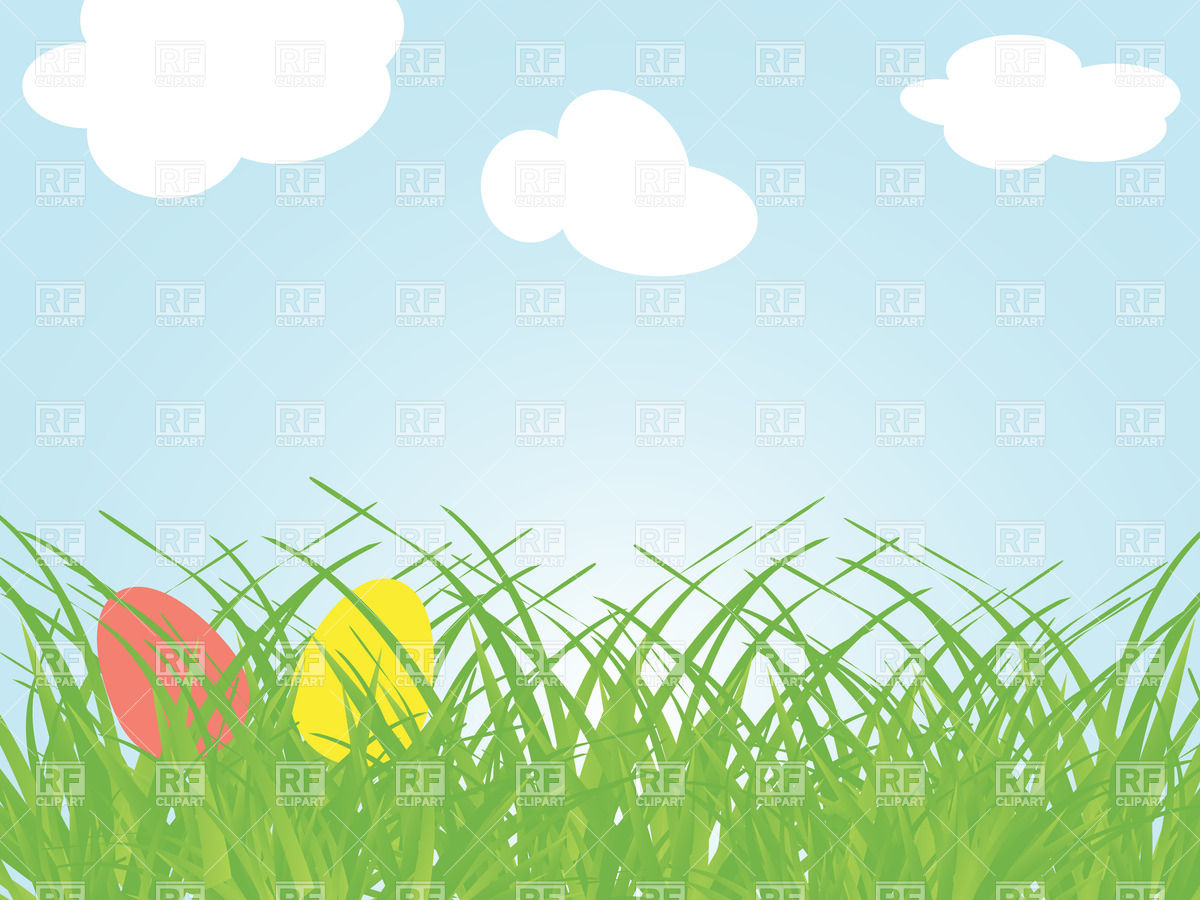 Two coloured eggs in the grass Vector Image #24495.