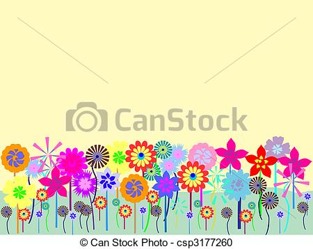 Vector Clipart of Flower field.