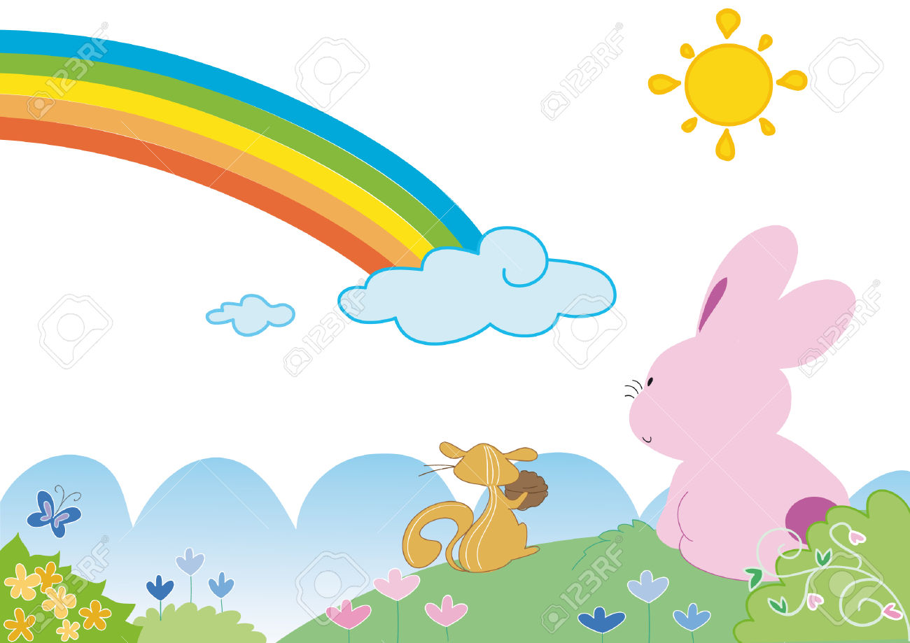 A Squirrel And A Bunny Are Looking To A Coloured Rainbow.