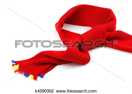 Stock Photo of Scarf. A winter warm red scarf with colour brushes.