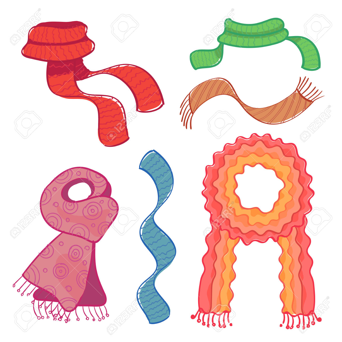 Set Of Different Coloured Winter Scarves On White Background.